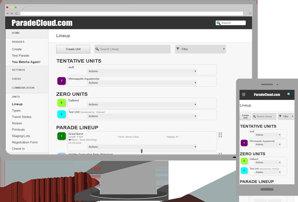 parade cloud screenshot on desktop and mobile